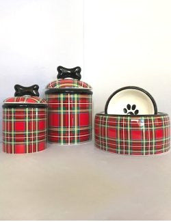 Tartan Plaid Ceramic Pet Kitchen Collection