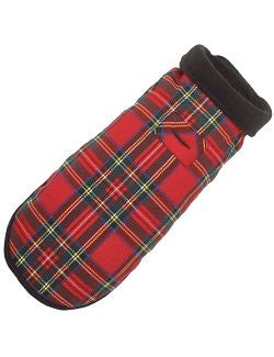 Winter Plaid Fleece-Lined Dog Coat