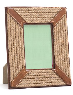 Rope And Leather Trimmed Picture Frame
