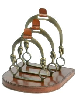 Brass & Leather Stirrups Letter Rack