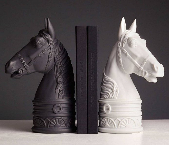 Porcelain Statuary Horse Head Bookends