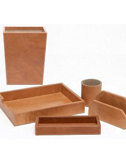 Caramel Full-Grain Leather Desk Set