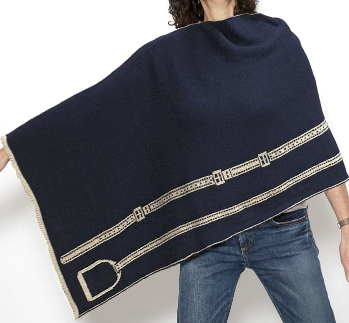Eco Conscious Stirrup Leathers Knit Poncho