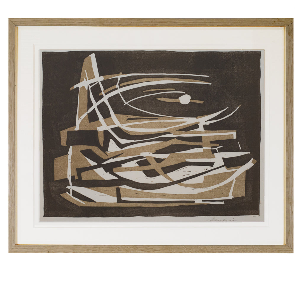 Linocut on Paper by ERNST PATZIES, circa 1955