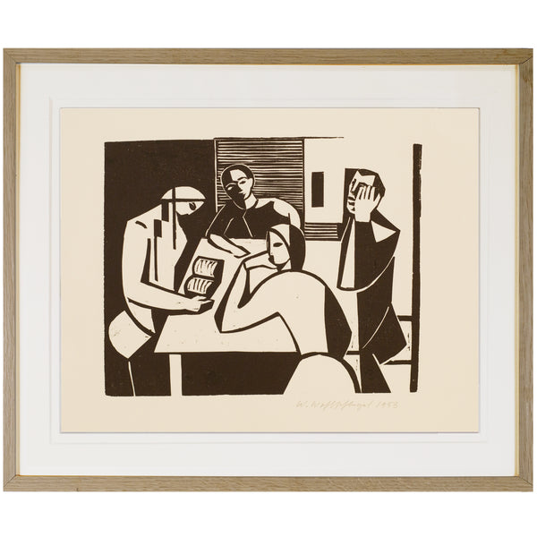 Woodcut on Paper by WALTER WOHLSCHLEGEL, 1953