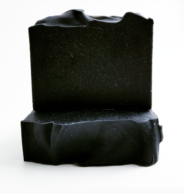 Activated charcoal soap with coconut oil and shea butter for detox cleanse.
