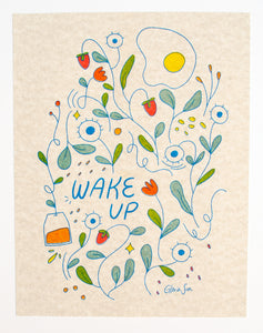 Wake Up Risograph Print