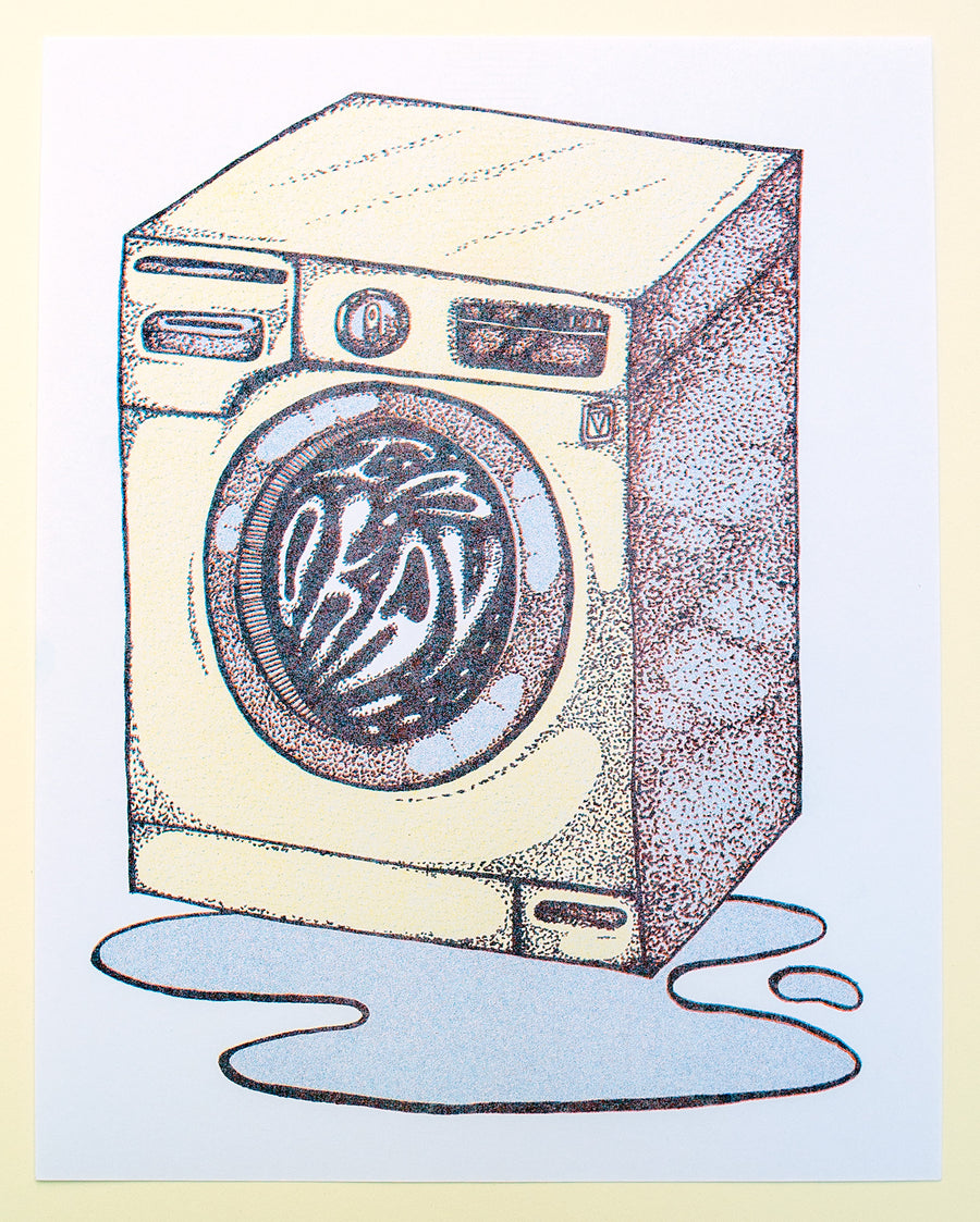Okay Washing Machine Risograph Print