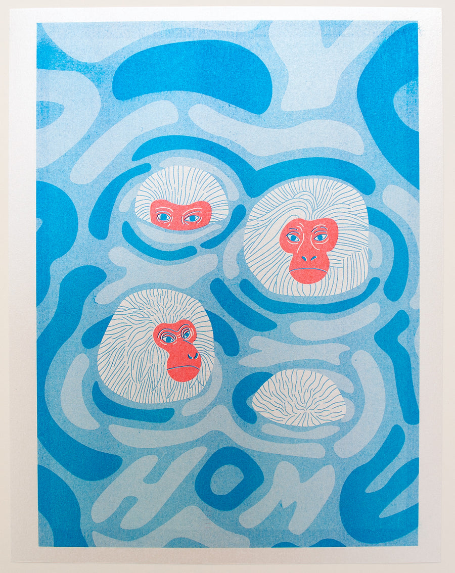 Snow Monkeys Sparkle Risograph Print