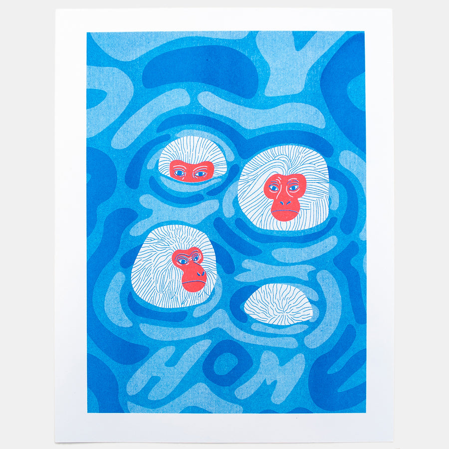 Snow Monkeys Risograph Print