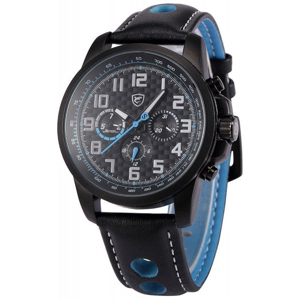 Be-Shark Men's Analog Date Day Sport Quartz Leather Band Wrist Watch SH185be