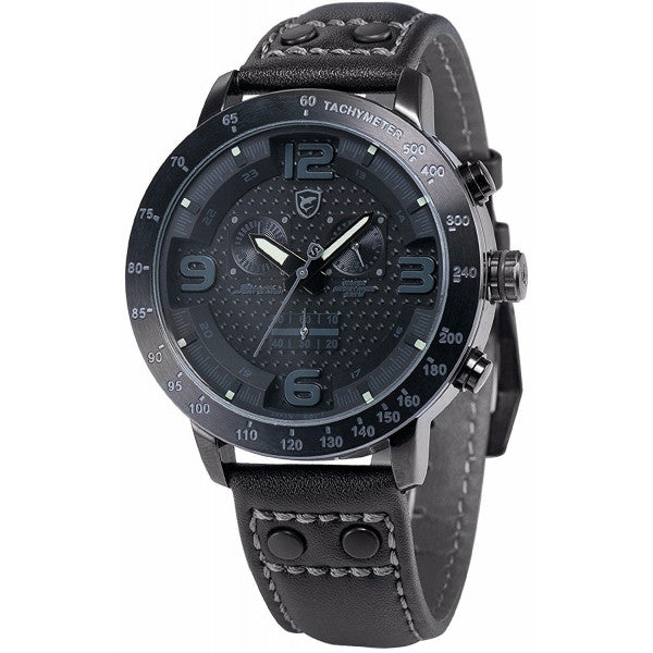 Be-Shark Men's Analog Quartz Chronograph 24 Hours Display Black Leather Band Wr
