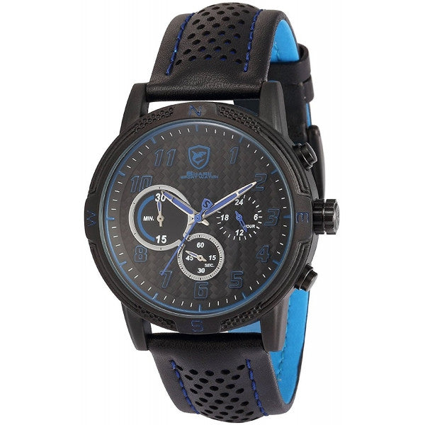 Be-Shark Men's Analog Quartz Chronograph Black Leather Band Wrist Watch SH252be