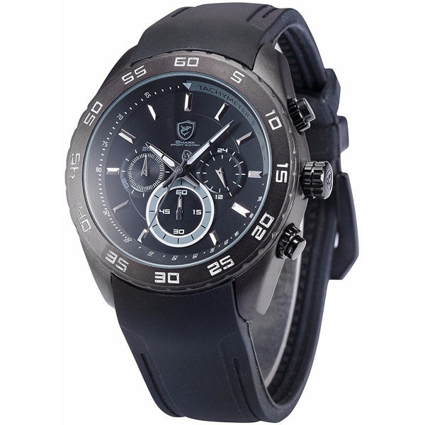 Be-Shark Men's Analog Quartz Chronograph Black Silicone Band Wrist Watch SH260b