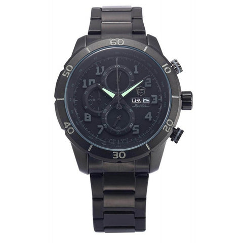 Be-Shark Men's Chronograph Day Date Black Stainless Steel Sport Quartz Watch SH