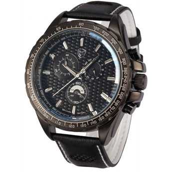 Be-Shark Men's Chronograph Japanese Quartz Black Leather Sport Watch SH193be
