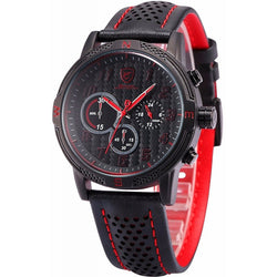 Be-Shark Men's Quartz Leather Band Chronograph Sport Red Watch SH251be