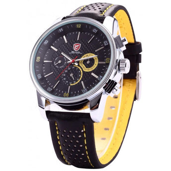 Be-Shark Men's Quartz Movement Date Black Yellow Sport Watch SH095be