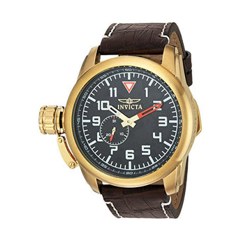 Invicta Men's Aviator Quartz Stainless Steel and Leather Casual Watch