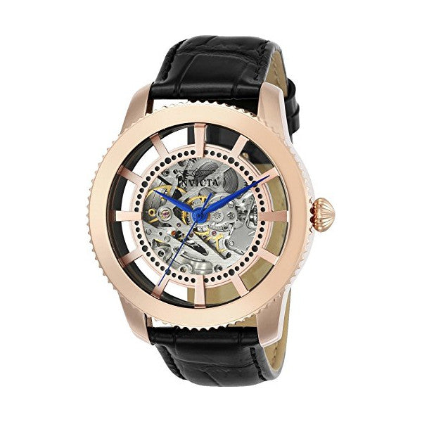 Invicta Men's Vintage Rose Gold and Silver Semi-Skeleton Dial Leather Strap Aut