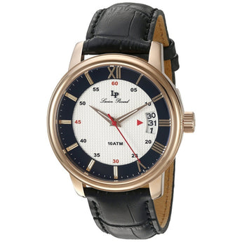 Lucien Piccard Men's 'Amici' Quartz Stainless Steel and Black Leather Casual Wa
