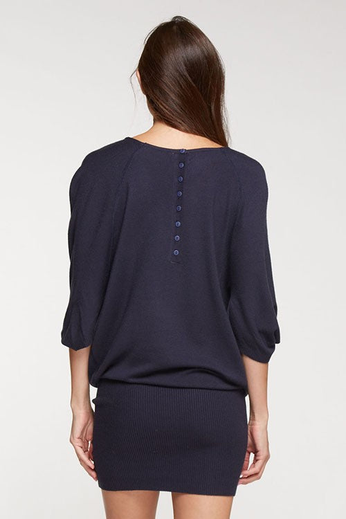 Cowl Neck Sweater Dress-Indigo