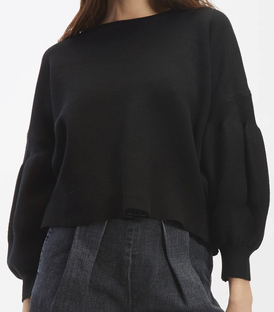 Balloon Sleve Sweater in Black