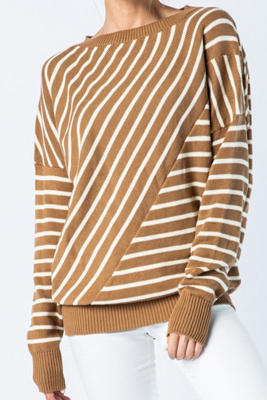 Cameron Striped Casual Sweaters In Taupe