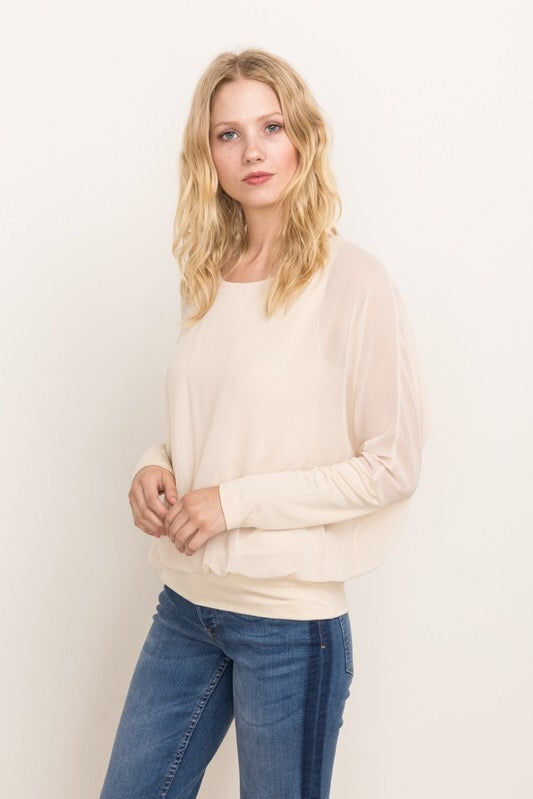 DOUBLE LAYERED DOLMAN TOP