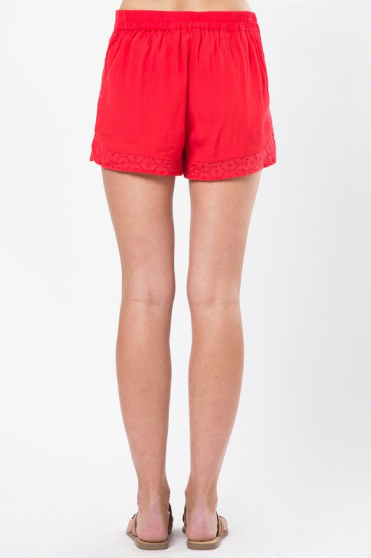 Lace Athletic Shorts in Tomato