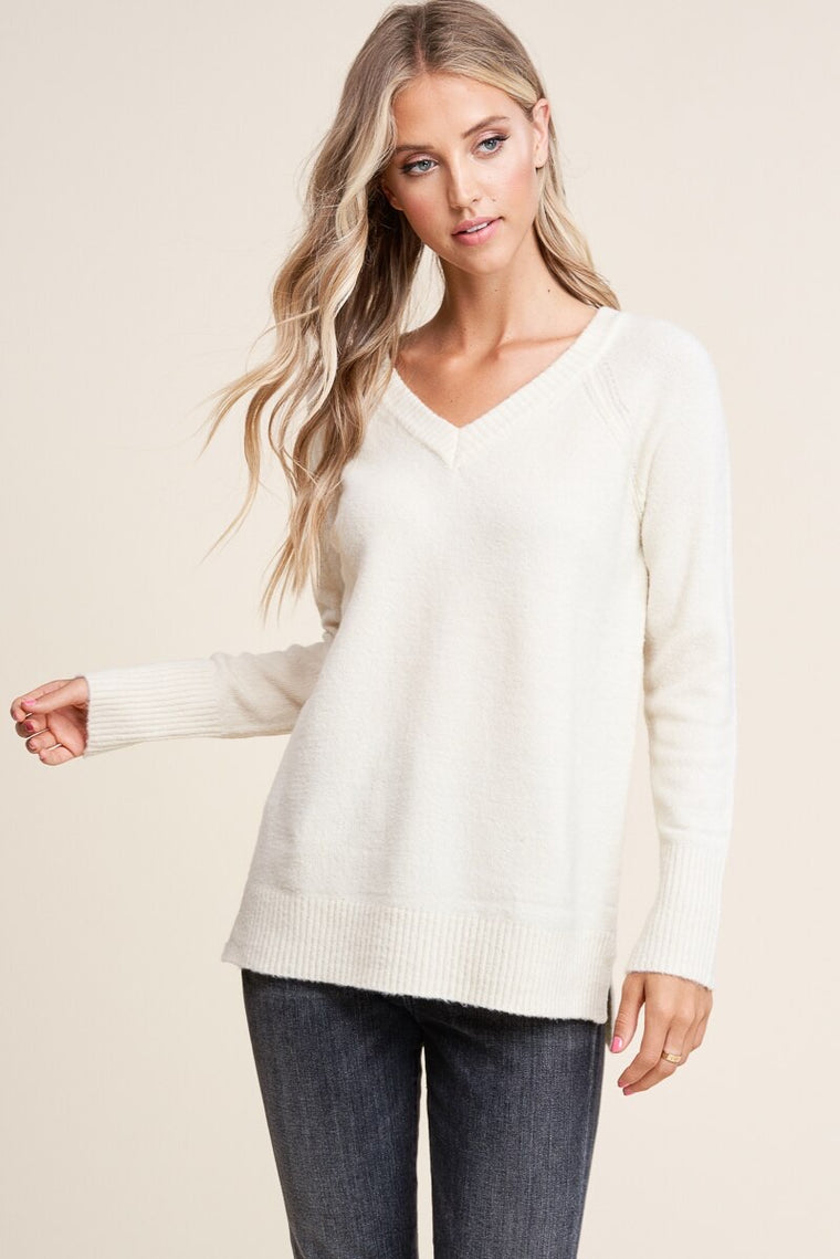 V-Neck Cream Sweater