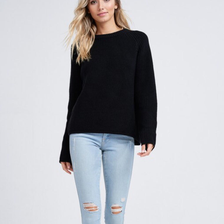 Long Sleeved Ribbed Sweater in Black