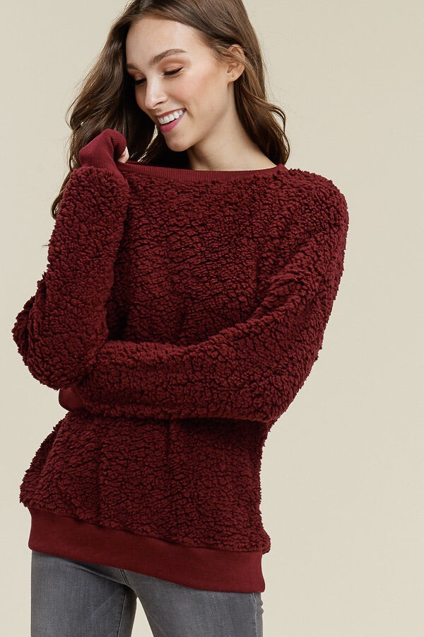 Teddy Bear Crewneck Pullover in Burgundy