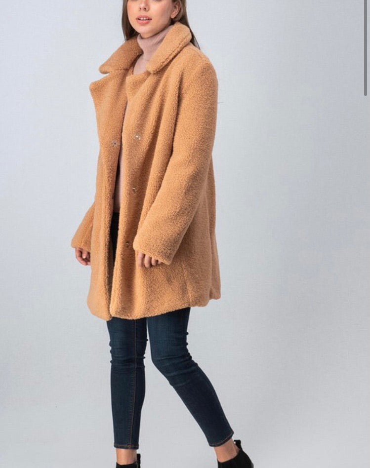 Shearling (faux) Jacket in Camel