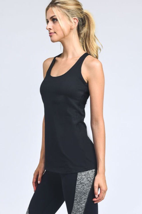 Strapped X-Back Tank in Black