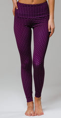 High Rise Legging in Aubergine Dot