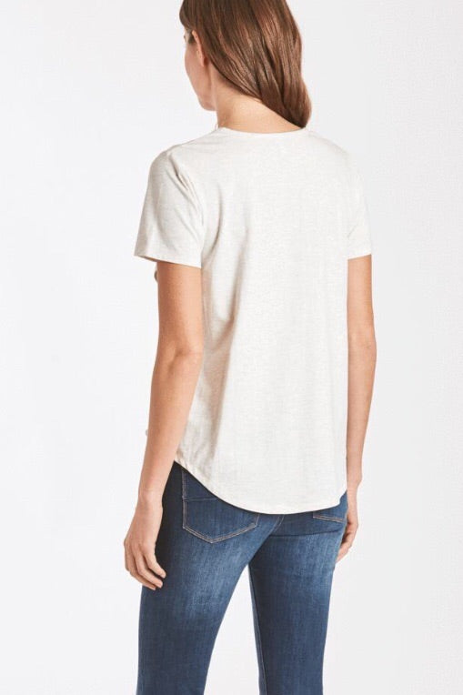 Celli Lace Up Tee in Oatmeal