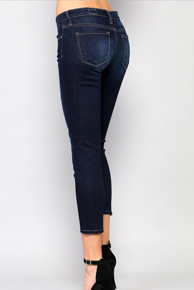 Mid Rise Dark Ankle Length Denim