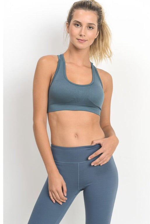 Racerback Seamless Sports Bra in Teal Blue