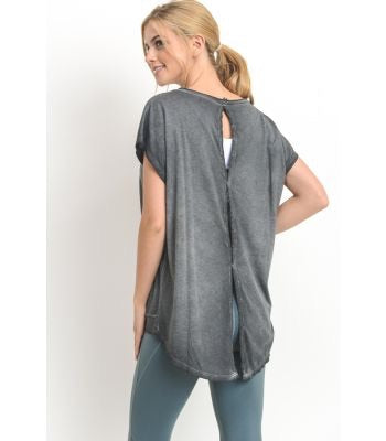 Cut Out Back Pullover in Grey