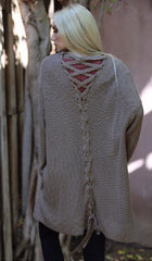 Lace Up Back Cardigan in Taupe