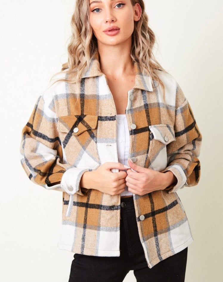 Laney Oversized Button Up Coat in Camel