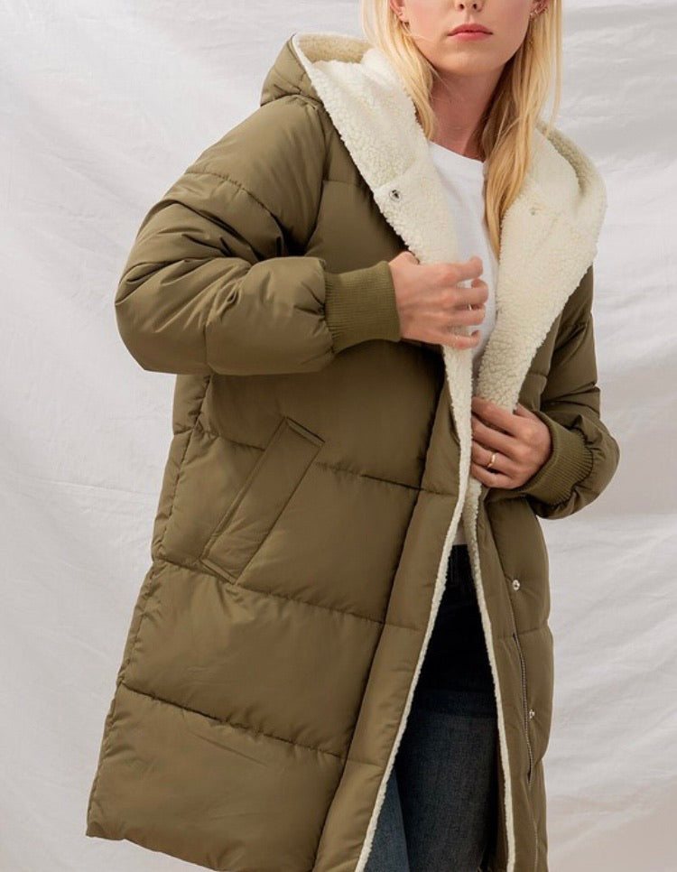 Hadley Puff Fleece Lined Long Coat in Olive