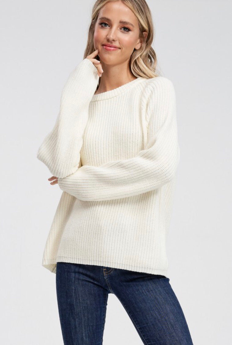 Long Sleeved Ribbed Sweater in White