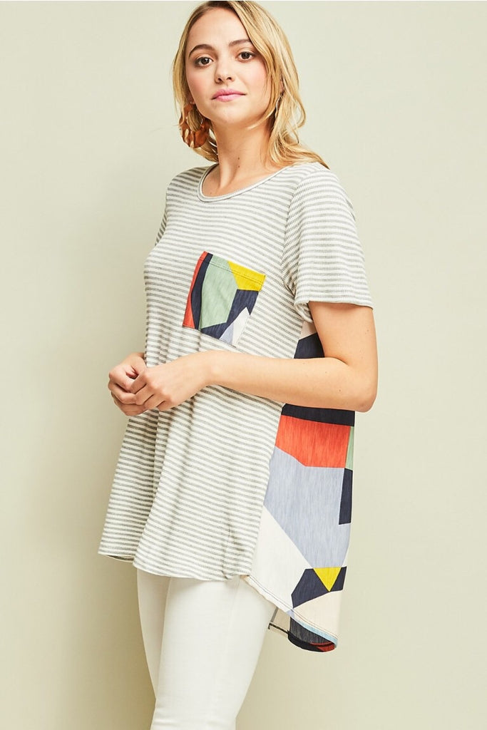 Striped Geometric Top