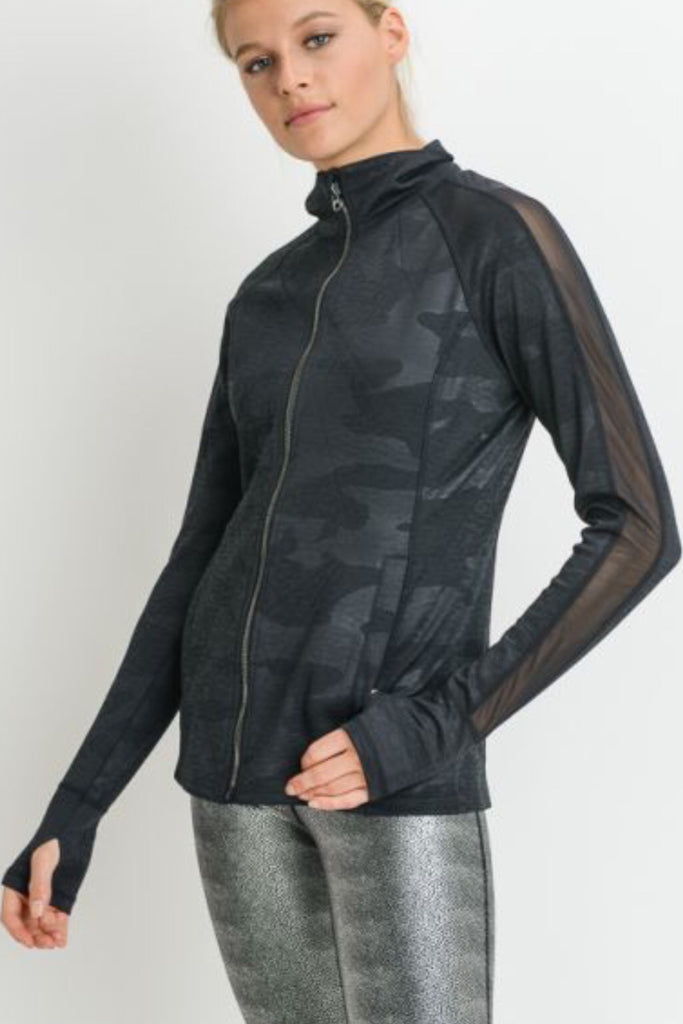 Zip-Up Geo Camo Mesh Jacket