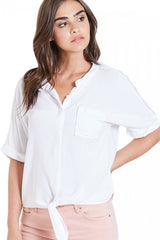 Hanna Short Sleeve Tie Front Top in White