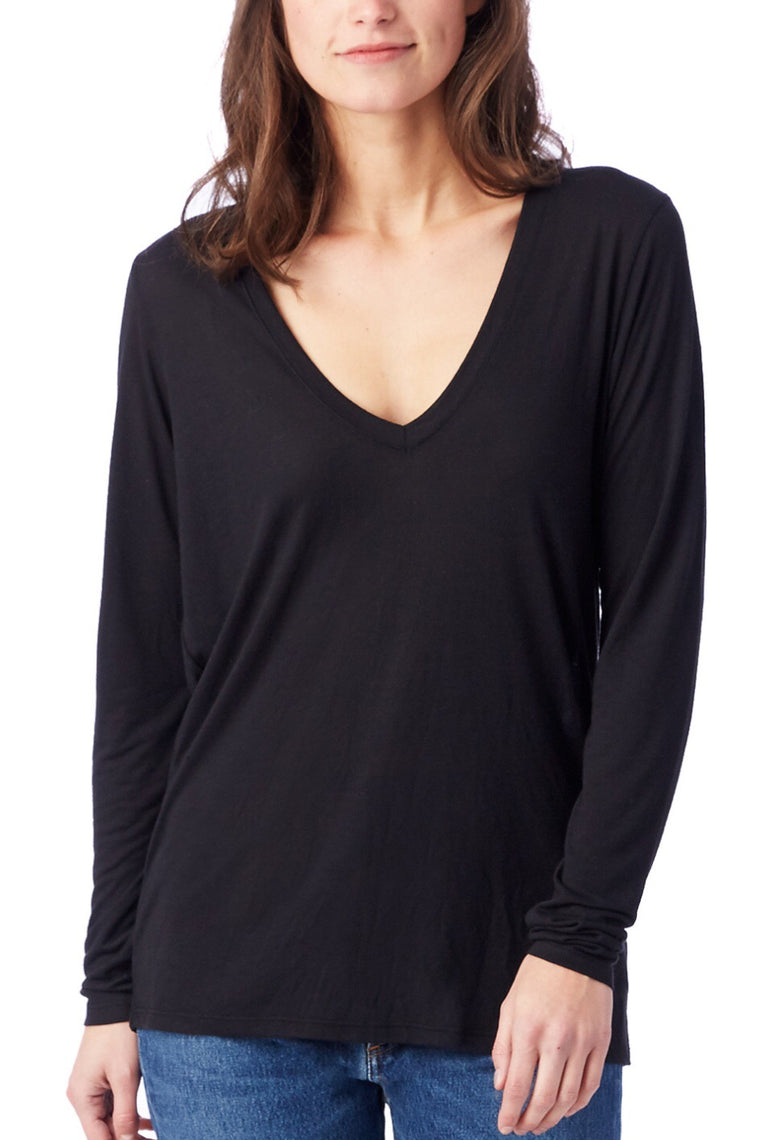 Long Sleeve Slinky V-Neck in Black