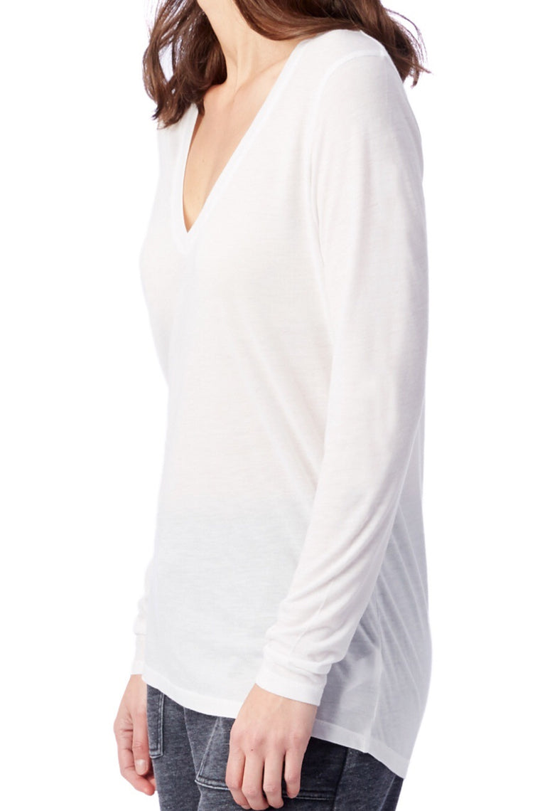Long Sleeve Slinky V-Neck in White
