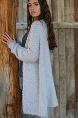 Knobby Yarn Duster Cardigan in Light Grey
